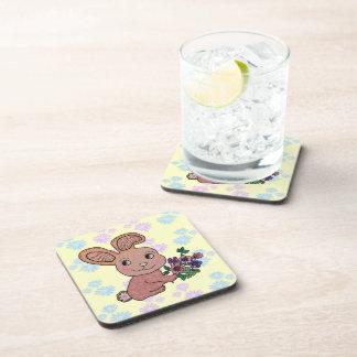 Bunny Rabbit Smile Beverage Coaster