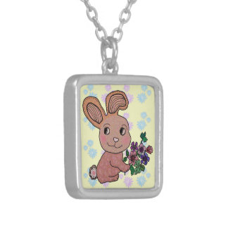Bunny Rabbit Smile Square Pendant Necklace