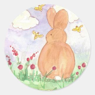 Bunny Rabbit Spring Garden Pet Animal Watercolor Classic Round Sticker