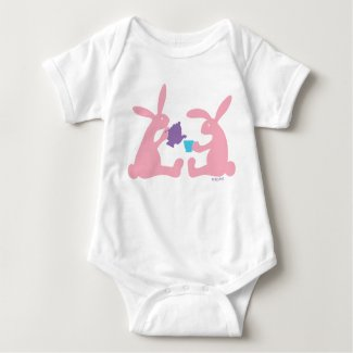 Bunny Rabbit Tea for Two Baby Bodysuit
