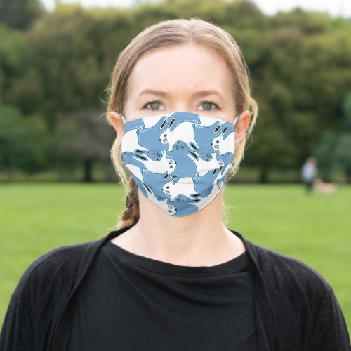 Bunny Rabbit tessellation pattern blue Adult Cloth Face Mask