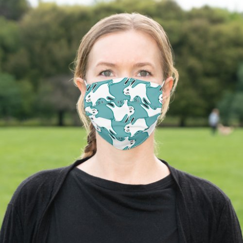 Bunny Rabbit tessellation pattern green Adult Cloth Face Mask