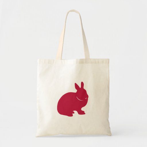 Bunny Rabbit Tote Bag (red silhouette)