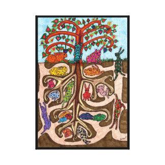 Bunny Rabbit Tree of Life Canvas Print