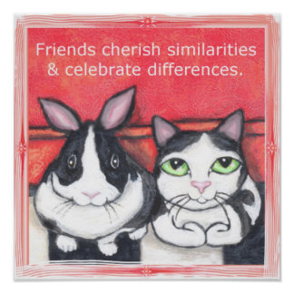 Bunny Rabbit & Tuxedo Cat Friends Poster