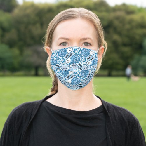 Bunny Rabbit w/ sweater tessellation pattern blue Adult Cloth Face Mask