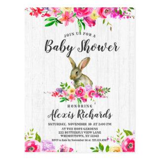 Bunny Rabbit Watercolor Floral Baby Shower Invitat Postcard