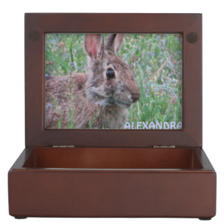 Bunny Rabbit Wildflowers Personalized Memory Box