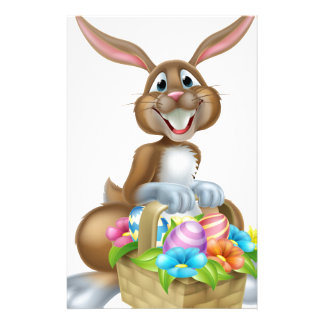Bunny Rabbit with Basket of Easter Eggs Stationery