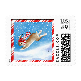 Bunny rabbit with candy cane border postage stamp