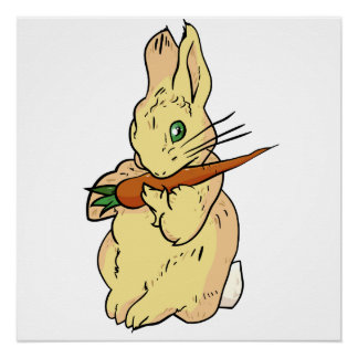 Bunny Rabbit with Carrot Poster