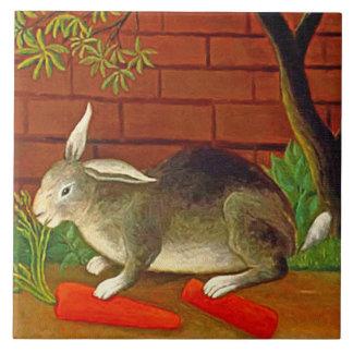 Bunny Rabbit with Carrot Vintage Pet Art Tile