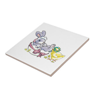 Bunny Rabbit with Chick Tile