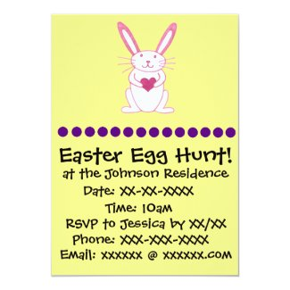 Bunny Rabbit with Heart Easter Egg Hunt Invitation