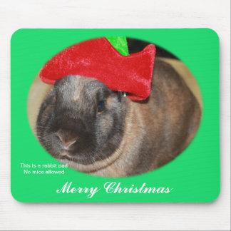 Bunny Rabbit with Santa Hat says Merry Christmas Mouse Pad