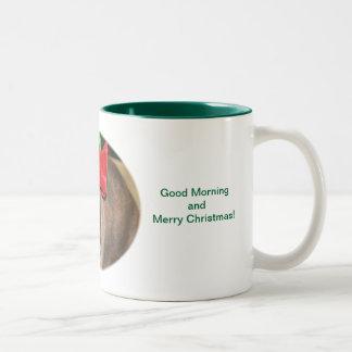 Bunny Rabbit with Santa Hat says Merry Christmas Coffee Mugs