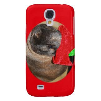 Bunny Rabbit with Santa Hat says Merry Christmas Samsung Galaxy S4 Case