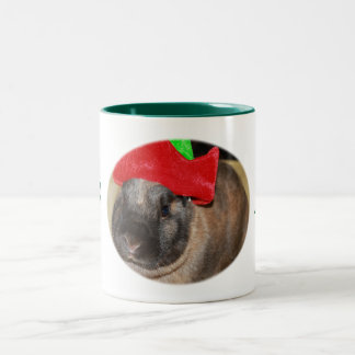 Bunny Rabbit with Santa Hat says Merry Christmas Two-Tone Coffee Mug