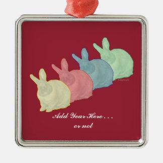 Bunny Rabbits 4 Colors 4 Bunny Lovers Metal Ornament