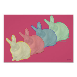 Bunny Rabbits 4 Colors 4 Bunny Lovers Poster