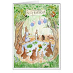 'Bunny Rabbits' Birthday Card Greeting Card