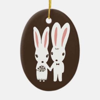 Bunny Rabbits Bride and Groom Wedding Keepsake Ceramic Ornament