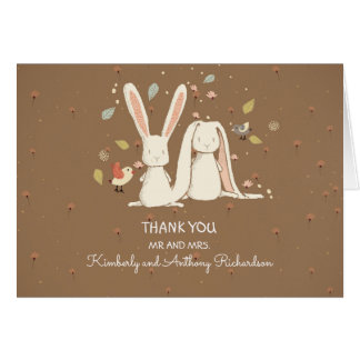 bunny rabbits couple cute thank you card