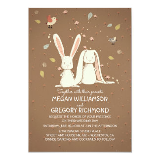 Bunny Rabbits Cute Rustic Woodland Wedding Card