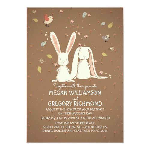 Bunny Rabbits Cute Rustic Woodland Wedding Invitation