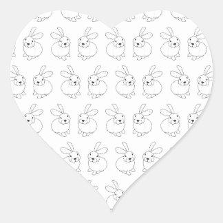 Bunny rabbits cute tatty hopping mad heart sticker