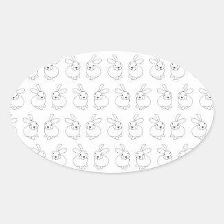 Bunny rabbits cute tatty hopping mad oval sticker