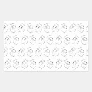 Bunny rabbits cute tatty hopping mad rectangular sticker