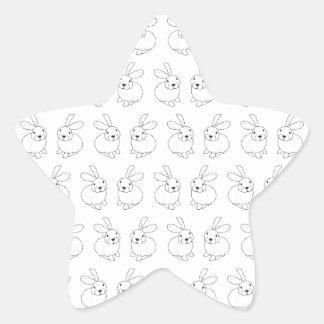 Bunny rabbits cute tatty hopping mad star sticker