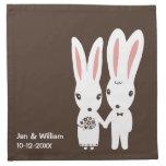 Bunny Rabbits Wedding Bride and Groom with Text Cloth Napkins
