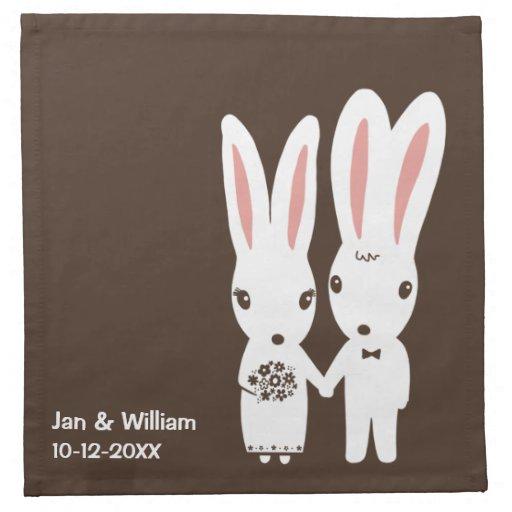 Bunny Rabbits Wedding Bride and Groom with Text Cloth Napkin