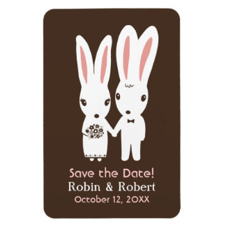 Bunny Rabbits Wedding Save the Date Rectangular Photo Magnet