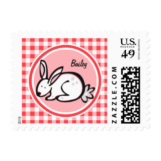 Bunny; Red and White Gingham Postage