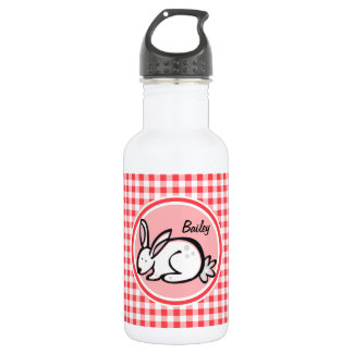 Bunny; Red and White Gingham Stainless Steel Water Bottle