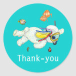 Bunny Reef Swimming Baby Thank-you Sticker
