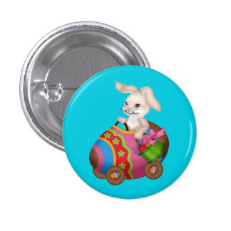 Bunny riding a colorful easter egg pinback button