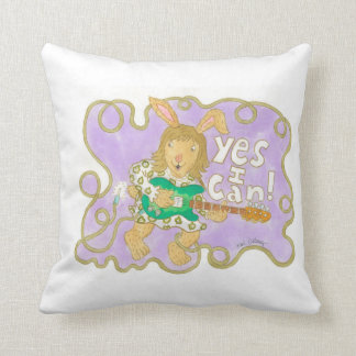 """bunny rocker says """"YES I CAN!"""" Throw Pillow"""