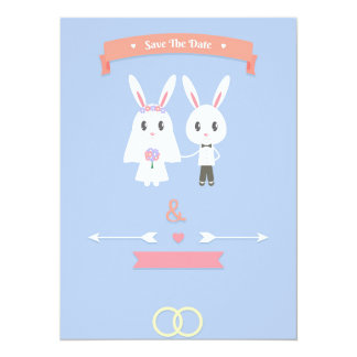 bunny save the date 5.5x7.5 paper invitation card