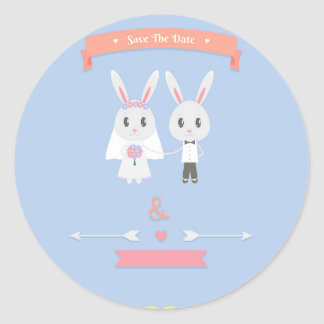 bunny save the date classic round sticker