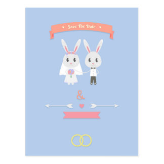 bunny save the date postcard