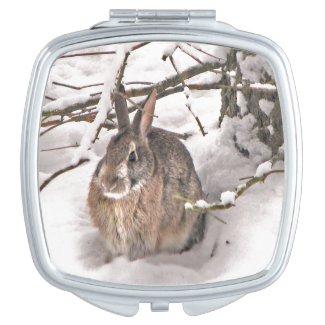 Bunny Seeking Shelter Compact Mirror