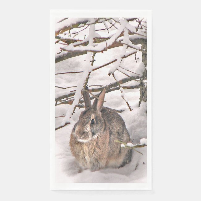 Bunny Seeking Shelter from Snow Paper Guest Towel
