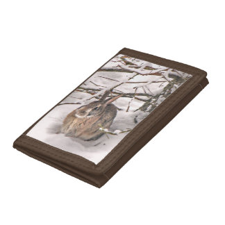 Bunny Seeking Shelter Tri-fold Wallets