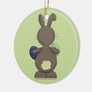 Bunny Showing off his Cottontail Ceramic Ornament