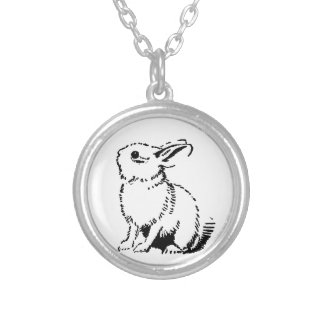 bunny silver plated necklace