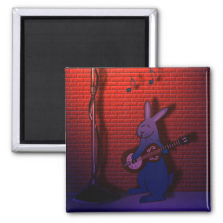 BUNNY SINGS THE BLUES 2 INCH SQUARE MAGNET